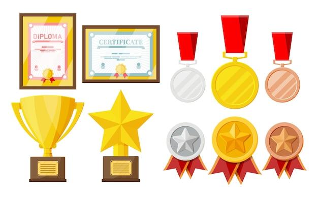 트로피 및 상 컬렉션입니다. 프레임의 디플로마 및 인증서. 대회 상품, 컵 및 메달. 수상, 승리, 목표, 챔피언 성취. 평면 스타일의 벡터 일러스트 레이 션
