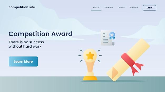 Трофей и сертификат в качестве награды конкурса с лозунгом. без усердной работы над векторной иллюстрацией домашней страницы посадки шаблона веб-сайта успеха не будет.