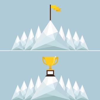 山のトロフィーと旗。ベクトルイラストレーション。