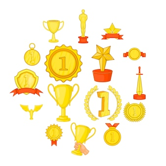 Trophy award icons set, in cartoon style