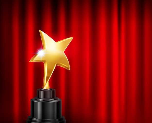 Trophy award red curtain background realistic composition with image of golden star shaped cup on pedestal