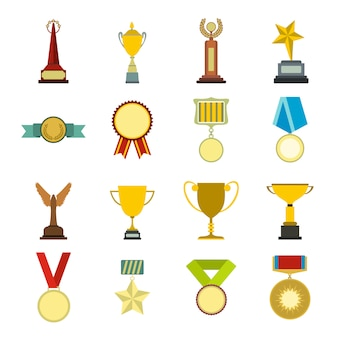 Trophy and awards flat elements set for web and mobile devices