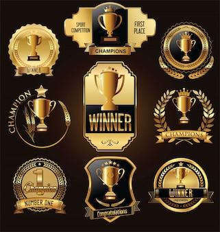 Trophy and awards golden badges