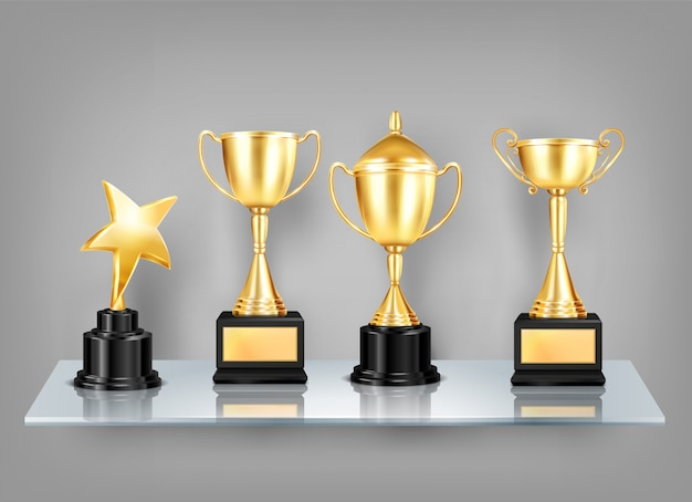 Trophy awards realistic images on shelf composition of golden cups with black pedestals on glass shelf