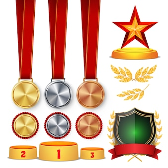 Trophy awards set illustration