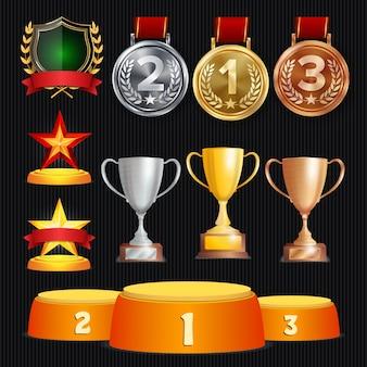 Trophy awards set illustration