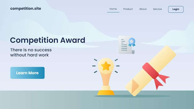 Trophy and certificate as competition award with tagline there is no success without hard work with for website template landing homepage vector illustration