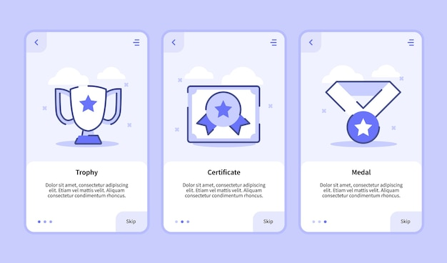 Trophy certificate medal onboarding screen for mobile apps template banner page ui
