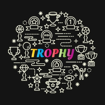 Trophy colorful gradient with line icons set