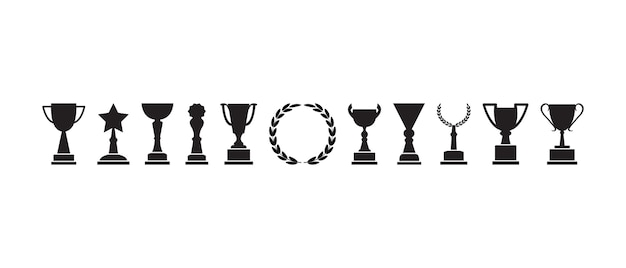 트로피 컵, 수상 및 월계관, 챔피언 아이콘, 검은 실루엣.