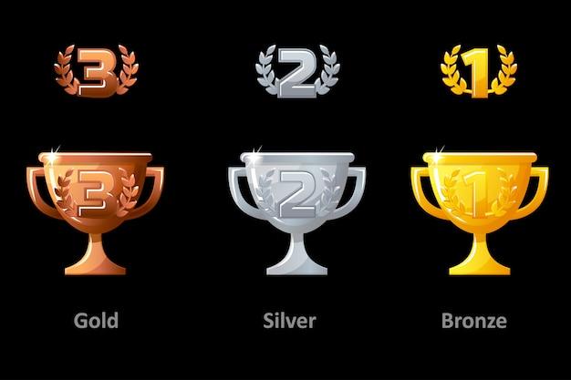 トロフィーカップ、賞、アイコン。ゴールド、シルバー、ブロンズのトロフィーカップ賞を受賞者に贈呈。ロゴ、ラベル、ゲームアプリのベクター要素。