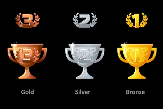 Trophy cup, award,  icons. collection gold, silver and bronze trophy cup award for winners. vector  elements for logo, label, game an app .