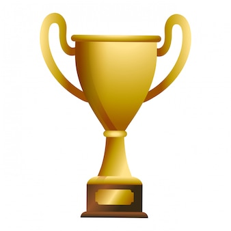 Trophy cup award on wooden box