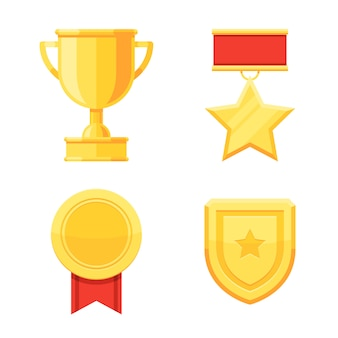Trophy cup and awards golden medals