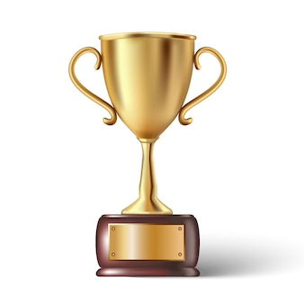 Trophy cup in cold with wooden base and place for your text.