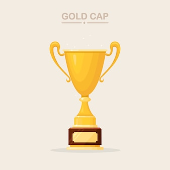 트로피 컵. 골드 잔 흰색 배경에 고립입니다. 우승자, 챔피언을위한 상. 승리, 수상, 우승, 리더십, 업적의 개념. 로고, 라벨, 게임, 앱 디자인 요소.