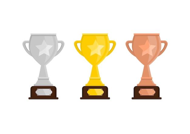 트로피 컵. 골든, 실버 및 브론즈 우승컵.