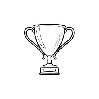 Трофейный кубок рисованной наброски каракули значок. награда победителю, приз конкурса, приз за концепцию успеха. векторная иллюстрация эскиз для печати, интернета, мобильных устройств и инфографики на белом фоне.
