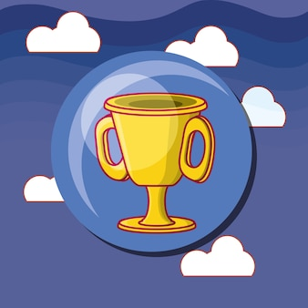 Trophy cup icon over sky background