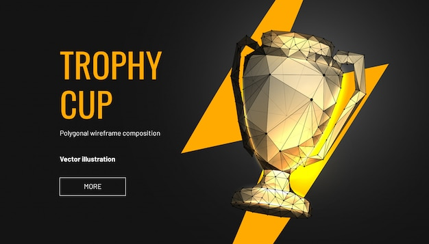 多角形のワイヤフレームスタイルのトロフィーカップ