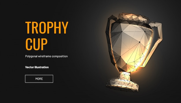 Trophy cup. low poly wireframe style