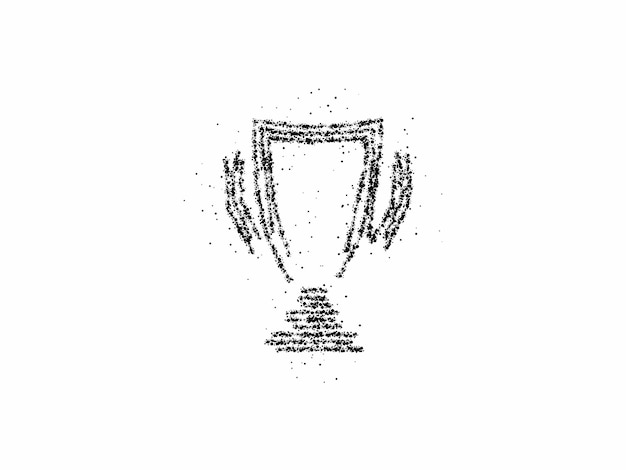 Trophy cup particle art icon, vector on white background