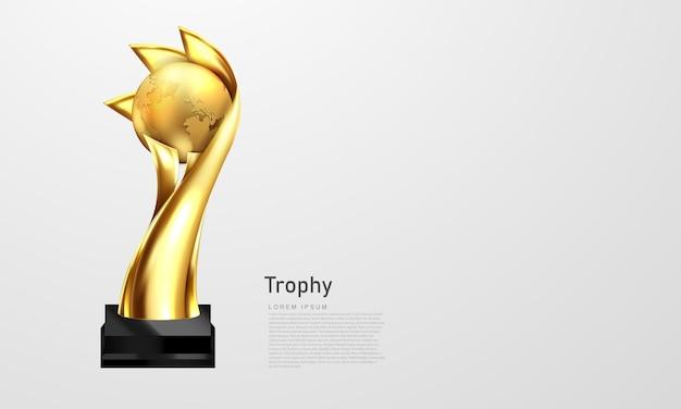 Трофейный кубок победитель награды баннер векторные иллюстрации