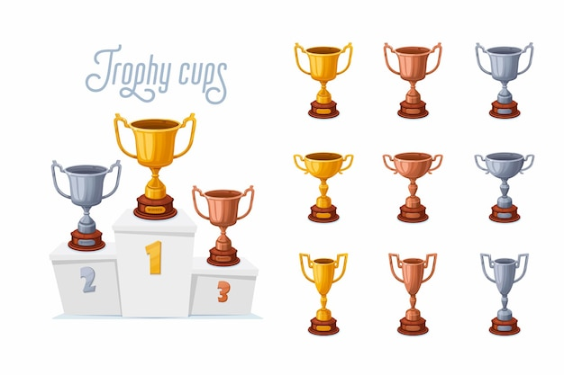 연단에 트로피 컵. 다양한 모양으로 설정된 금,은, 동 우승자 상금 컵