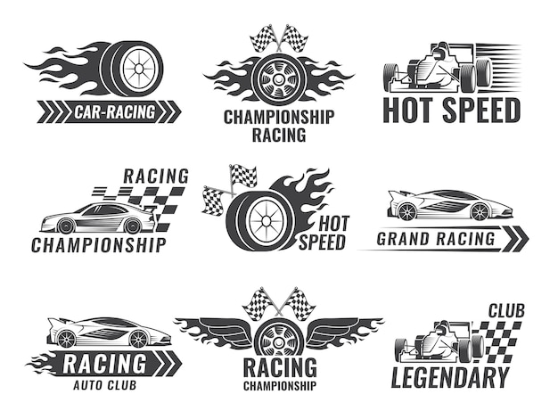 Trophy, engine, rally and others symbols for race sport labels