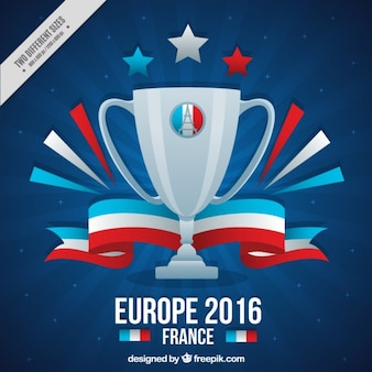 Trophy of eurocope 2016 with ribbon background