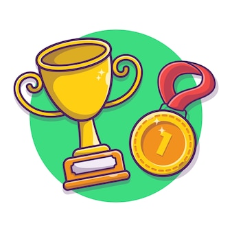Trophy and gold medal vector cartoon illustration. winning award champion gold trophy.