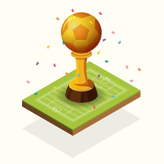 Trophy golden football and field isometric.