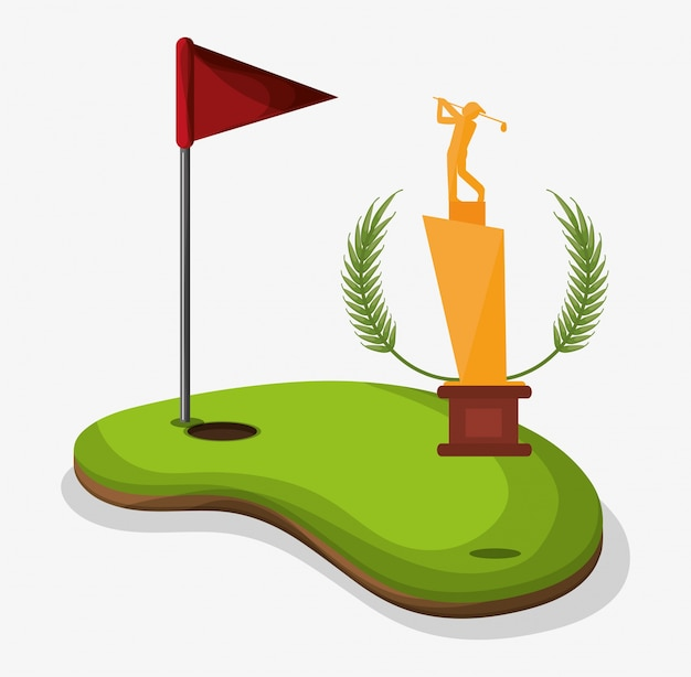 Trophy golf player field flag hole one