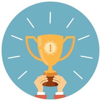 Trophy, hands holding winner cup vector illustration in flat style