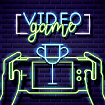 Trophy and hands playing videogame, neon style