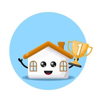 Трофейный дом милый персонаж логотип