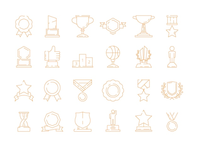 Trophy icon. award cup quality sport winners rewards vector signs thin line