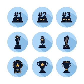 Trophy icon set, reward for champions with star isolated on blue circle