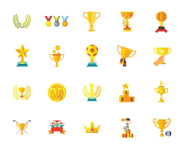 Trophy icon set