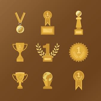 Trophy icon set