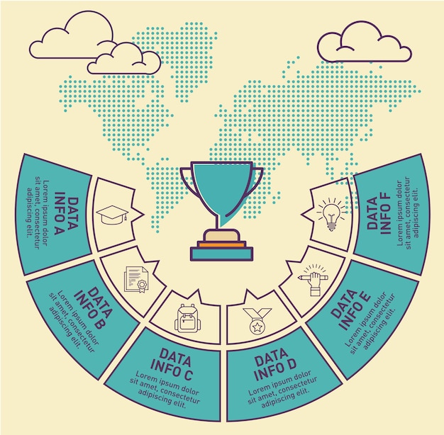 Trophy infographic template vector design
