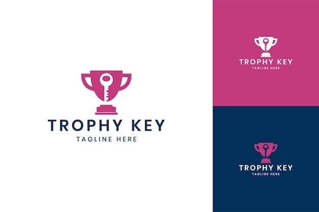 Trophy key negative space logo design