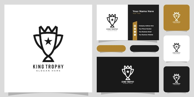 Trophy king logo vector design and business card