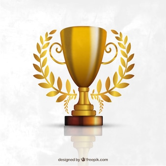 Trophy made of gold Premium Vector
