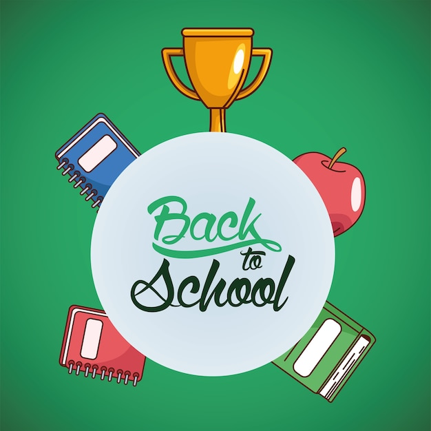 Trophy notebooks and apple design, back to school eduacation class and lesson theme