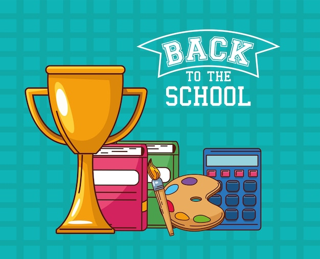 Trophy notebooks paint brush palette and calculator design, back to school eduacation class and lesson theme
