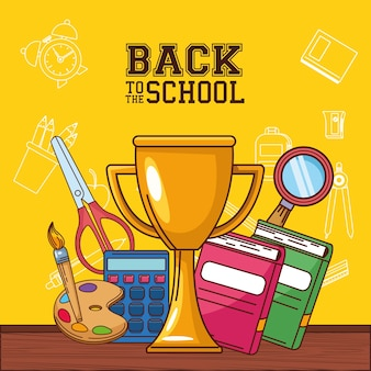 Trophy notebooks paint brush palette calculator scissor and lupe design, back to school eduacation class and lesson theme