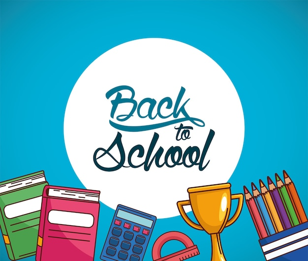 Trophy notebooks ruler colored pencils and calculator design, back to school eduacation class and lesson theme
