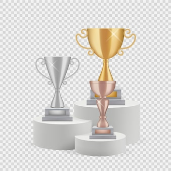 연단에 트로피. 골든, 실버 및 브론즈 컵 투명 배경에 고립.