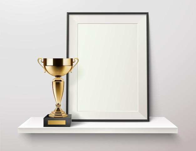 Trophy and photo frame on a shelf